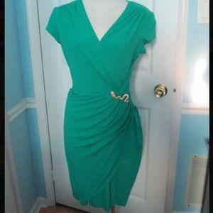 Cache Emerald Green Wrap Dress w Gold Snake sz SM